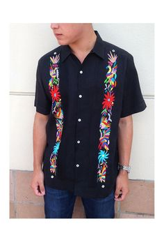 $252.00 Guayabera with Otomi Embroidery- Black with Multi Color