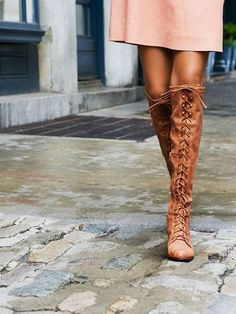 7ee685b87c0 Leather over-the-knee lace-up boots. Metal eyelet detailing. Short