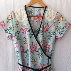 womens dress wrap around in vintage cotton with vintage embroidery size 16 by smallforestshop on Etsy