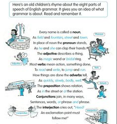 8 Parts of Speech of English Grammar How To Teach Grammar, Good Grammar, Teaching Grammar, English Fun, English Grammar, Learn English, English Language Learning, Teaching English, Eight Parts Of Speech