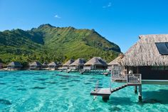The Maldives, Bora Bora, and Moorea and have most of the world's overwater bungalows and water villas. Wonderful Places, Beautiful Places, Beautiful Beach, Society Islands, Paradise Hotel, Overwater Bungalows, Need A Vacation, French Polynesia, Honeymoon Destinations