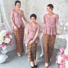 source from ig Kebaya Pink, Kebaya Peplum, Vera Kebaya, Kebaya Lace, Batik Kebaya, Batik Dress, Kimono, Model Rok Kebaya, Model Kebaya Brokat Modern