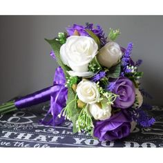 BRIDES BOUQUET - PURPLE, LILAC + IVORY UNQIUE WEDDING POSY, READY TO SHIP AND GORGEOUS