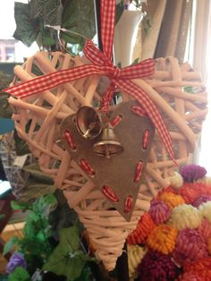 White Wicker Heart with Bell