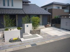 Garden Entrance, House Entrance, Japanese Modern House, Sister Home, Front Fence, Front Yard Landscaping, Exterior, House Design, Patio