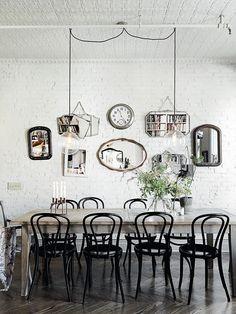 Sala de Jantar com variedades de Espelhos decorativos