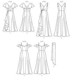Printable Pattern Available Misses' Dress and Sash Easy lightweight wovens, (add neckline floof and bodice to skirt C for one of the Marguerite board dresses? Dress Design Sketches, Fashion Design Sketchbook, Fashion Design Portfolio, Fashion Design Drawings, Fashion Sketches, Illustration Mode, Design Illustrations, Fashion Illustration Dresses, Clothing Sketches