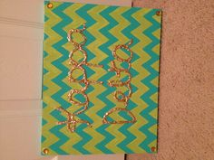 Kappa Delta glitter chevron painted canvas