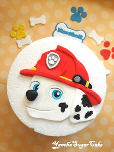 Fondant edible 2d cake topper Marshall Paw patrol Dog Birthday party decorations Fireman Gumpaste decorations Baby boy shower Christening by YanchaSugarCake on Etsy