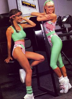 Workout fashions - notice the leotard and the headbands!  Lol...Mom, I remember you wearing these leotards to your aerobics classes! @Anna Gibson