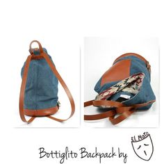 Bottiglito backpack by el Mato! Handmade in Italy backpacks! Denim Backpack, Canvas Backpack, Backpack Purse, Leather Shoulder Bag, Leather Bag, Vegetable Tanned Leather, Natural Leather, Bag Making, Leather Backpacks