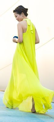 Neon Yellow Pleated Halter Gown by Wendy's Lookbook