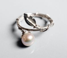 Pearl & Leaf 925 Sterling Silver stacking ring by Zalisander on Etsy https://www.etsy.com/listing/86711441/pearl-leaf-925-sterling-silver-stacking