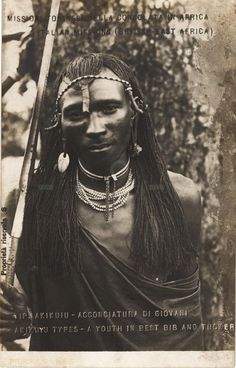 Akikuyu types -a youth in best bib and tucker - BY: Italian Missions (British East Africa) - African Tribes, African Diaspora, Native American Images, Native American Indians, African Culture, African History, African Braids Hairstyles Pictures, Black Hairstyles, Africa People