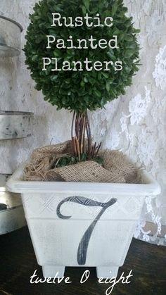 DIY:: (Dollar Store) Rustic Painted Garden Planters