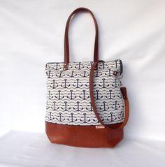 Schultertaschen - Schultertasche Shopper XL :: Anker weiß blau - ein Designerstück von frau-kaliki bei DaWanda