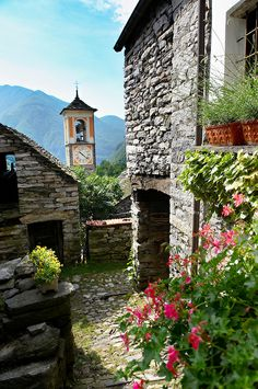 Rustic mountain peasant village of Corippo with stone houses and church. Val Verzasca. Ticino.