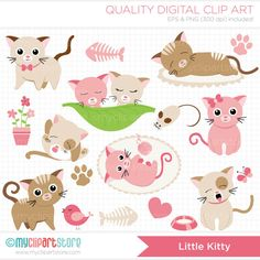 Pink Little Kitty Cat Clip Art / Digital Clipart - Instant Download