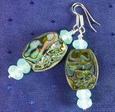 Summer Abalone Earrings with Natural by GemstoneJewelrybyVal, $22.00