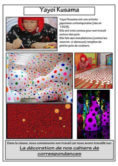 art project in the style of Yayoi Kusama.I don't think I would want to do the project suggested here, but I could certainly come up with something else inspired by her style of work. Fall Art Projects, Classroom Art Projects, Art Classroom, Yayoi Kusama, Artist Project, 2nd Grade Art, Art Worksheets, Ecole Art, Preschool Art