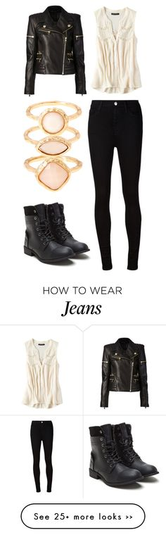 """Untitled #11597"" by aavagian on Polyvore featuring moda, Balmain, American Eagle Outfitters, Monsoon e AG Adriano Goldschmied"