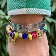 Nigo bangle smiley face beads bracelet with customize letter Love Bracelets, Bangles, Beaded Bracelets, Nigo, How To Make Beads, Smiley, All Black, White Gold, Jewels