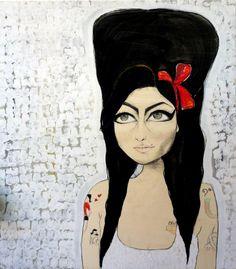 """Amy Winehouse, 2012  93x105 cm - tecnica mista su tavola    """"Mi piacciono le pin-up. Mi sento più uomo che donna. Però non sono lesbica, non prima di una sambuca comunque."""""""