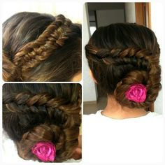 Reverse fishtail updo accented by slideup fishtail