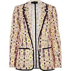 pink print blazer - blazers - coats / jackets - women - River Island