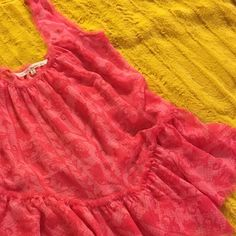 Rachel Roy bubblegum pink sheer tank top This ruffled tank top with unfinished edging hangs with comfort and ease. Will fit a small – large. Perfect condition Rachel Roy Tops Tank Tops