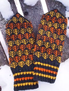 Finely Hand Knitted Seto (Estonian) Mittens in Black Yellow Orange - warm and windproof