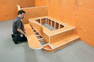 Schluter-KERDI-BOARD is suitable for use on any kind of structure - wood or metal framing, masonry, and finished surfaces – and can be used to create bathtub platforms, partitions, countertops, and various other elements.