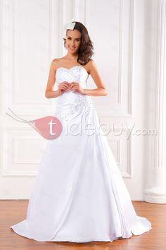 Aラインスウィートハートスイープトレーンウェディングドレス