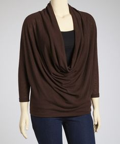 Take a look at this Brown Dolman Drape Top - Plus by Poliana Plus on #zulily today!