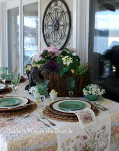 Home is Where the Boat Is: Easter spring tablescape, lettuce, hydrangea centerpiece