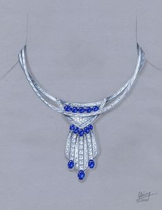 private label sapphire and baguette diamonds necklace