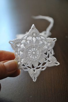 Crochet snowflakeChristmas Hanging ornamentWinter by UpRo on Etsy