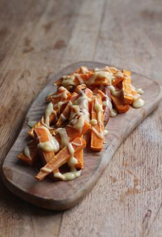 Vegan Three Cheese Sweet Potato Fries! So indulgent and delicious. Oven Baked. No dairy!