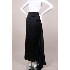 Pre-Owned Nicole Miller Collection Black Silk Maxi Skirt Sz 8 ($105) ❤ liked on Polyvore featuring skirts, black, maxi skirt, long silk skirt, silk skirt, flouncy skirt and draped maxi skirt
