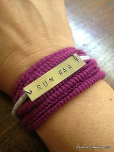 Running Motivation Wrap Bracelet: RUN FAR by wordstosweatby