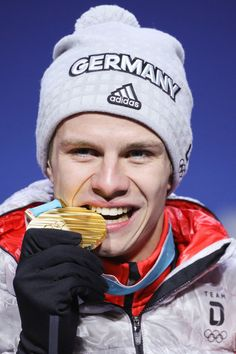 SKI JUMPING MEN'S NORMAL HILL:  Gold medalist Andreas Wellinger of Germany Winter Olympic Games, Winter Olympics, Celebrity Photos, Celebrity News, Andreas Wellinger, Ski Jumping, Olympic Sports, Olympians, Jumpers