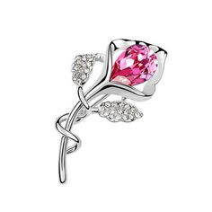 Latigerf Flower Brooch White Gold Plated Swarovski Elements Crystal Pink -- Read more reviews of the product by visiting the link on the image. (This is an affiliate link and I receive a commission for the sales)