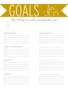 New Goals for a New Year FREE Printable