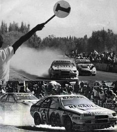 Juan María Traverso le gana sobre la raya a Silvio Oltra con su coche en llamas. TC2000. 1988 Rally, Racing, Fire, Race Cars, Cars Motorcycles, Modified Cars, Tourism, Argentina, Running