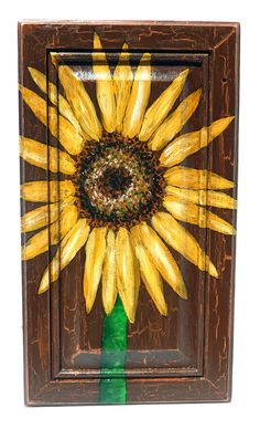 Sunflower flower acrylic painting on salvaged upcycled oak wood door, wall hanging on Etsy, $75.00