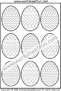 Easter Eggs – Tracing – Coloring – Curved and Zig Zag Line Tracing – One Worksheet