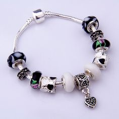 European 925 Silver Charm Snake Bracelet Bangle for Women With Black Glass Beads Bijouterie #Bracelet