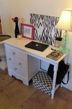 Love this old looking desk turned modern for a makeup vanity