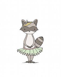 Girl Nursery Art -- Princess Mischief -- Raccoon Art -- Princess Art -- Woodland Art -- Girls Room Art -- Children Art, Kids Wall Art on Etsy, $10.00