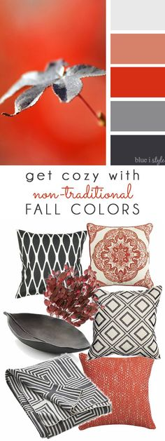 COZY FALL COLORS! A simple mood board to help you bring these non-traditional fall colors of red and gray into your home decor.
